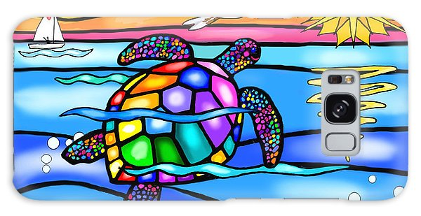 Sea Turtle In Turquoise And Blue Galaxy Case