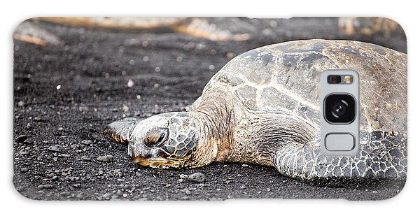 Sea Turtle On Black Sand Galaxy Case by Ed Cilley
