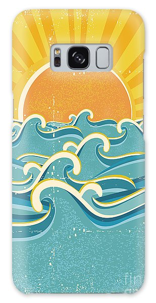 Beam Galaxy Case - Sea Waves And Yellow Sun On Old Paper by Tancha
