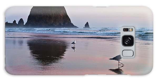 Seagulls And Haystack Rock Galaxy Case