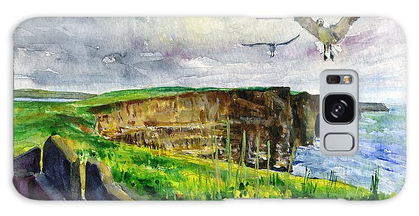 Seagulls At The Cliffs Of Moher Galaxy Case by John D Benson