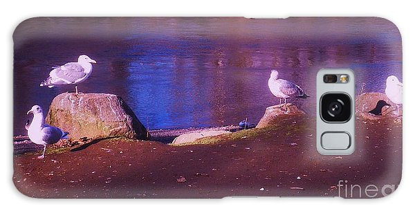 Seagulls On The Willamette River Galaxy Case by Suzanne McKay