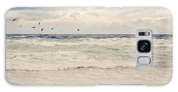 Seagulls Take Flight Over The Sea Galaxy Case