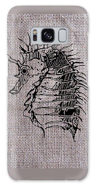 Seahorse On Burlap Galaxy Case