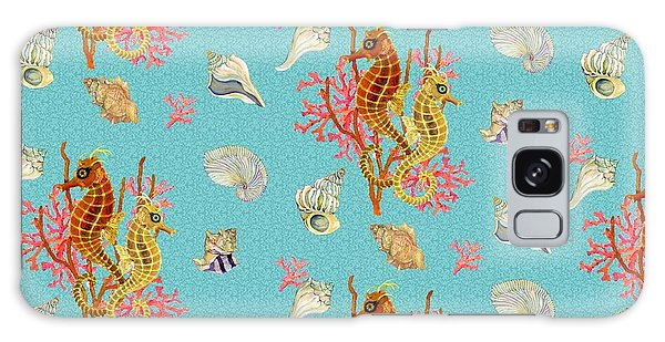 Seahorses Coral And Shells Galaxy Case by Kimberly McSparran