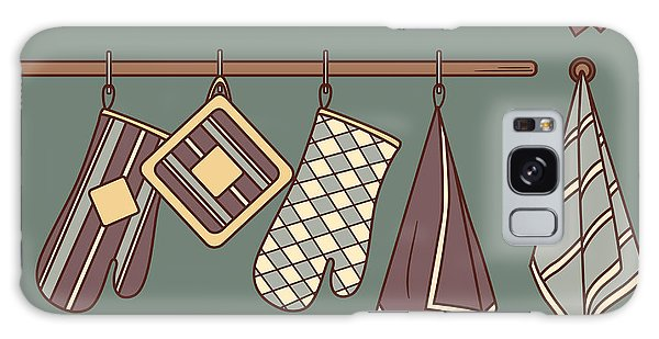 Shelves Galaxy Case - Seamless Pattern With Kitchen Textiles by Talirina