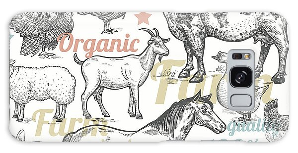 Rural Galaxy S8 Case - Seamless Pattern With Livestock by Mamita