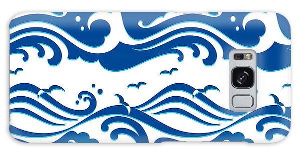 Seagulls Galaxy Case - Seamless Stormy Ocean Waves Pattern by Sahua D