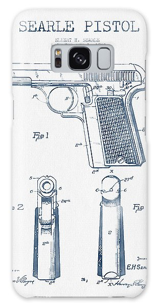 Weapons Galaxy Case - Searle Pistol Patent Drawing From 1921 -  Blue Ink by Aged Pixel
