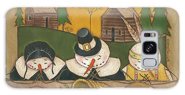 Seasonal Snowman Xi Galaxy Case by Anne Tavoletti