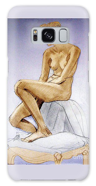 Tinted Figure Drawing Of A Seated Female Nude Dreaming Galaxy Case