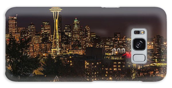 Seattle Night Lights Galaxy Case by Gene Garnace