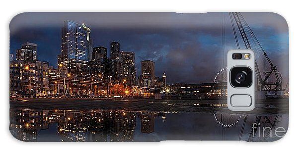 Seattle Night Skyline Galaxy Case by Mike Reid