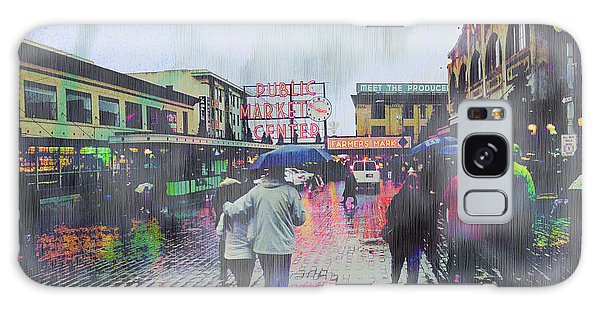 Seattle Public Market In Rain Galaxy Case
