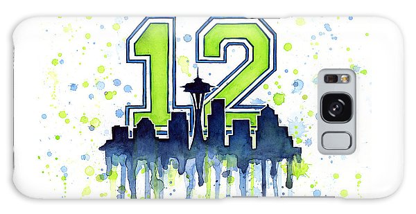 Seattle Skyline Galaxy S8 Case - Seattle Seahawks 12th Man Art by Olga Shvartsur
