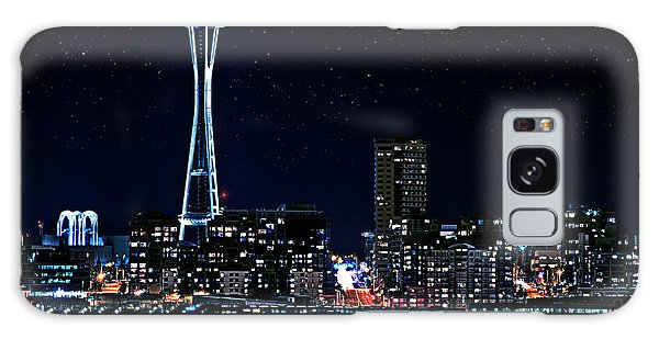 Seattle Skyline At Night With Full Moon Galaxy Case by Valerie Garner