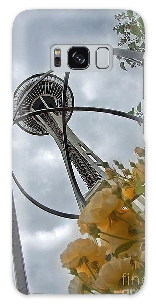 Seattle Spaceneedle With Watercolor Effect Yellow Roses Galaxy Case by Valerie Garner