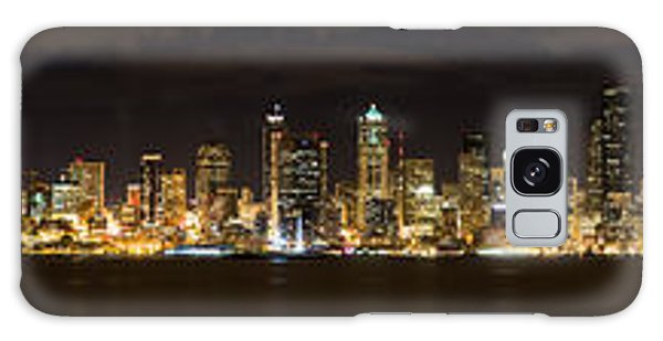 Seattle Waterfront At Night Panoramic Galaxy Case