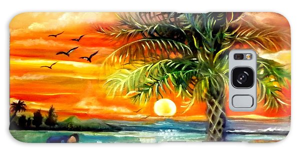 Seawaves Sunset In Tampa Galaxy Case by Yolanda Rodriguez