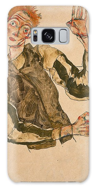Impressionistic Galaxy Case - Self-portrait With Striped Sleeves by Egon Schiele