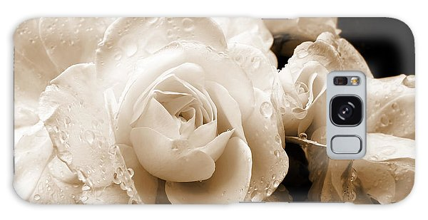 Sepia Roses With Rain Drops Galaxy Case