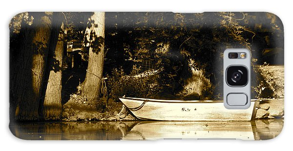 Sepia Rowboat Galaxy Case by Vinnie Oakes