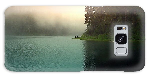 Serenity On Blue Lake Foggy Afternoon Galaxy Case by Joyce Dickens
