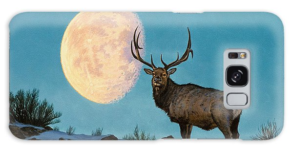 Moon Galaxy Case - Setting Moon And Elk by Paul Krapf