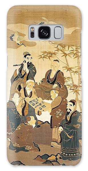 Stork Galaxy S8 Case - Seven Wise Men In The Bamboo Forest Painted Silk by Japanese School