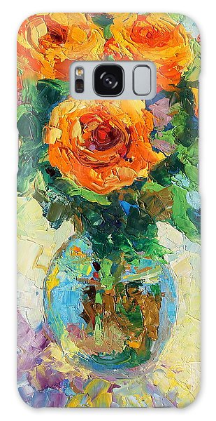 Seven Yellow Roses In Glass Vase Oil Painting Galaxy Case