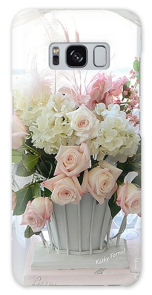 Shabby Chic Basket Of White Hydrangeas - Pink Roses - Dreamy Shabby Chic Floral Basket Of Roses Galaxy Case