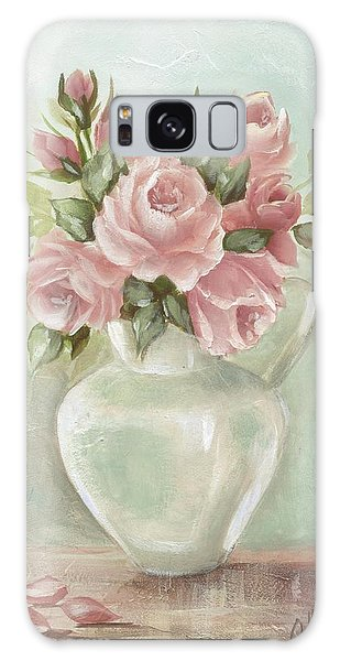 Shabby Chic Pink Roses Painting On Aqua Background Galaxy Case