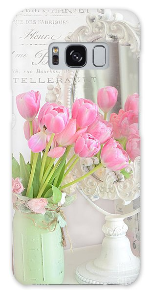 Cottage Galaxy Case - Shabby Chic Tulips Reflection In Mirror - Dreamy Romantic Cottage Pink Tulips Floral Art by Kathy Fornal