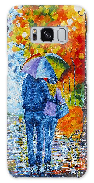Galaxy Case featuring the painting Sharing Love On A Rainy Evening Original Palette Knife Painting by Georgeta Blanaru