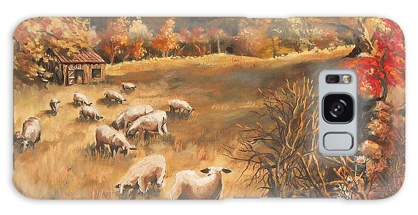 Sheep In October's Field Galaxy Case by Joy Nichols