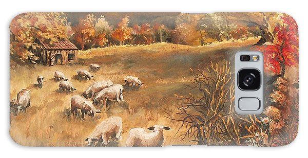Sheep In October's Field Galaxy Case