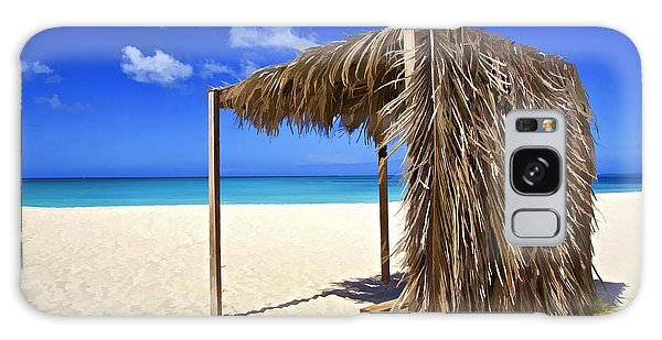 Shelter On A White Sandy Caribbean Beach With A Blue Sky And White Clouds Galaxy Case
