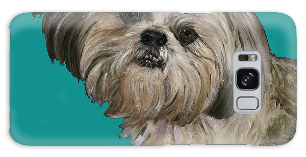 Shih Tzu On Turquoise Galaxy Case