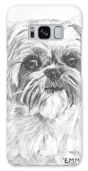 Shih Tzu Portrait In Charcoal Galaxy Case by Kate Sumners
