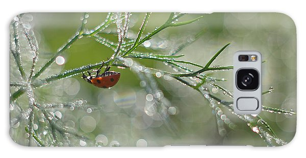Water Droplets Galaxy Case - Shine Of Morning Bokeh by Elena Solovieva