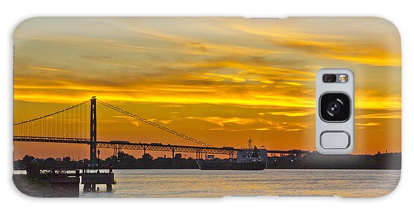 Ship Approaches Ambassador Bridge At Sunset Galaxy Case by Bill Woodstock