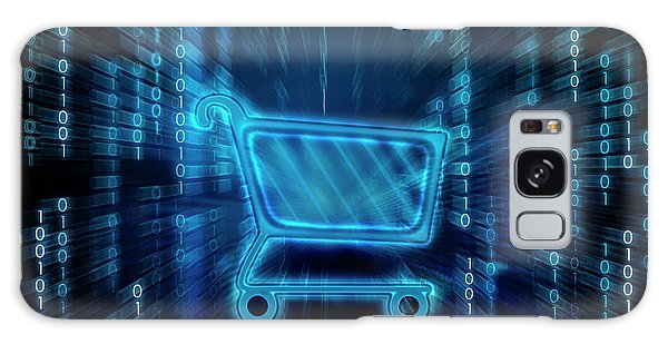 Online Shopping Cart Galaxy Case - Shopping Cart On Binary Digits by Fanatic Studio / Science Photo Library