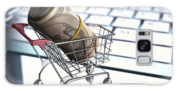 Online Shopping Cart Galaxy Case - Shopping Trolley With American Dollars by Ktsdesign