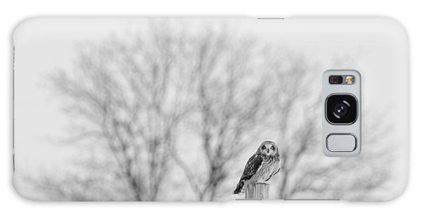Short-eared Owl In Black And White Galaxy Case