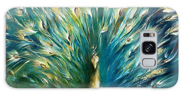 Peacocks Galaxy Case - Show Off 3 White Peacock by Dina Dargo