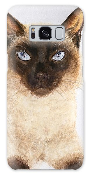 Siamese Cat Over White Galaxy Case