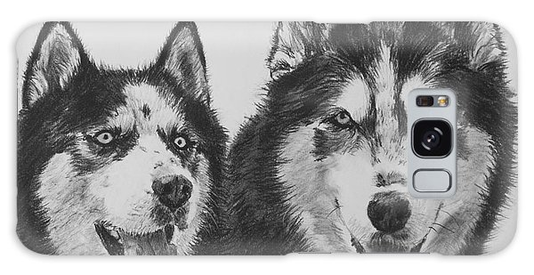 Siberian Husky Dogs Sketched In Charcoal Galaxy Case