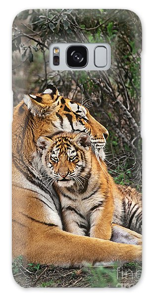 Siberian Tiger Mother And Cub Endangered Species Wildlife Rescue Galaxy Case by Dave Welling