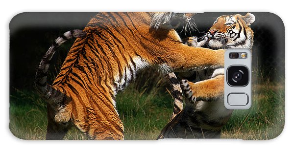 Siberian Tigers In Fight Galaxy Case by Nick  Biemans