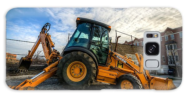 Side View Of A Backhoe At Sunset Galaxy Case